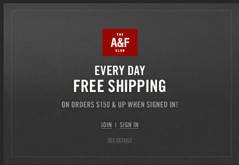 Free shipping on all orders $150 & up when signed in!
