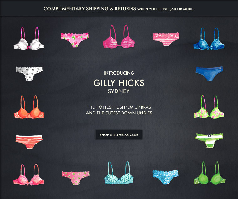 Shop Gilly Hicks for the cutest bras & undies.