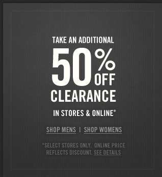 Take an additional 50% off clearance in stores and online at Abercrombie & Fitch!