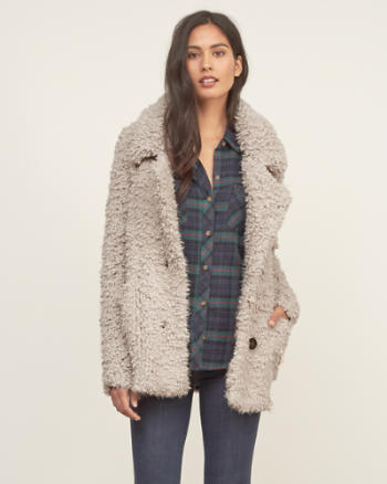 Womens Shaggy Knit Coat