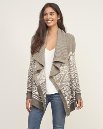 Womens Patterned Short Cardigan