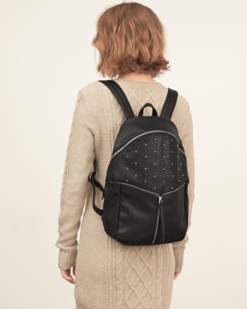 Womens Studded Faux Leather Backpack