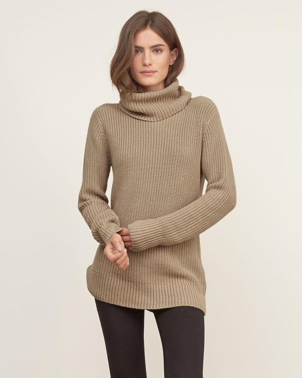 Shaker Stitch Turtleneck Sweater