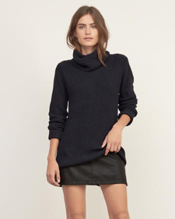 Womens Shaker Stitch Turtleneck Sweater