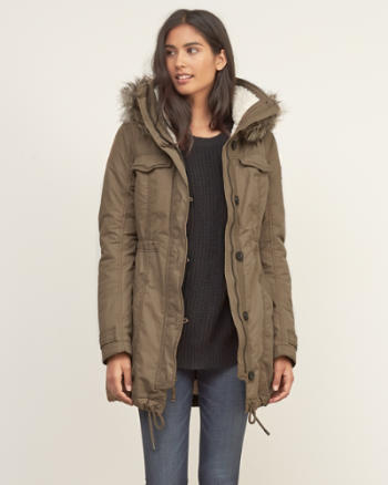 Womens A&F Sherpa Lined Military Parka