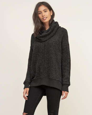Womens Long Cowl Neck Pullover