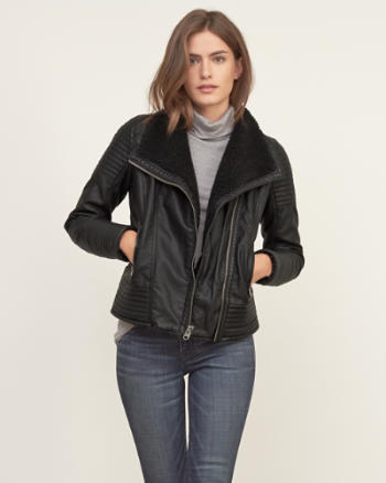Womens Sherpa Lined Vegan Leather Jacket