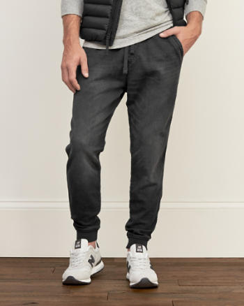 Mens Denim Sweatpant Stretch Joggers