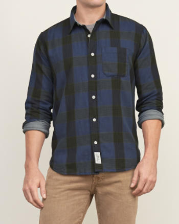 Mens Muscle Fit Contrast Lined Plaid Shirt