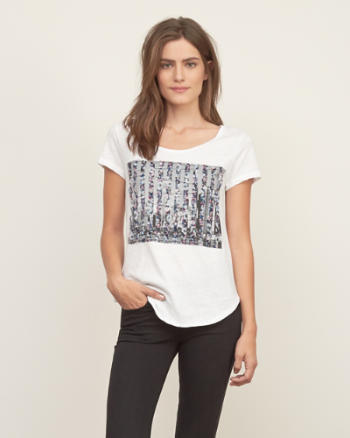 Womens Stripe Graphic Tee