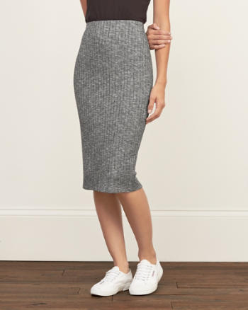 Womens Knit Midi Skirt