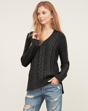 Womens Embellished Cable Sweater