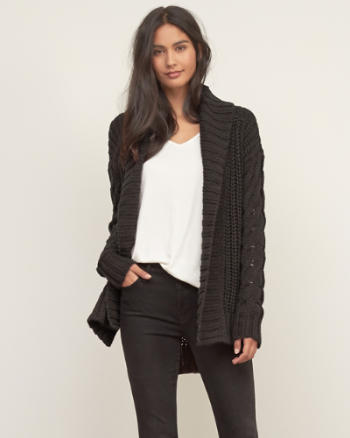 Womens Cable Boyfriend Cardigan
