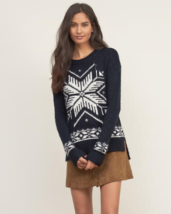 Womens Patterned Crew Sweater