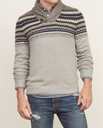Mens Patterned Shawl Collar Sweater