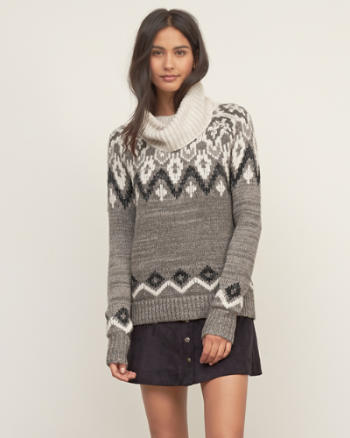 Womens Patterned Turtleneck Sweater