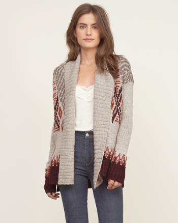 Womens Patterned Boyfriend Cardigan