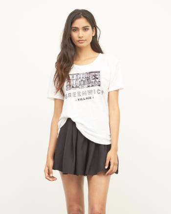 Womens Embroidered Greenwich Graphic Tee