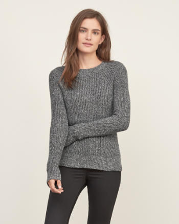 Womens Shaker-stitch Crew Sweater