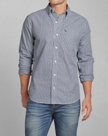 Mens Classic Fit Striped Poplin Shirt
