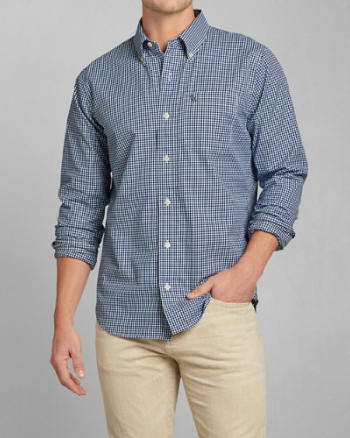 Mens Classic Fit Check Twill Shirt