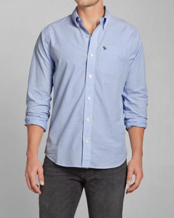Mens Classic Fit Check Poplin Shirt