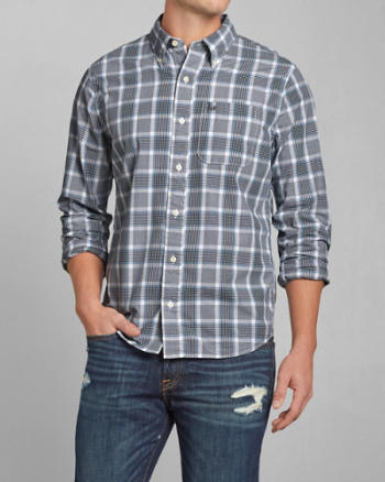 Mens Check Poplin Shirt