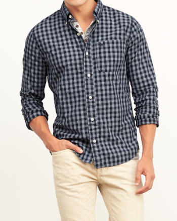 Mens Gingham Check Poplin Shirt