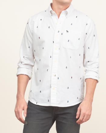 Mens Printed Oxford Shirt