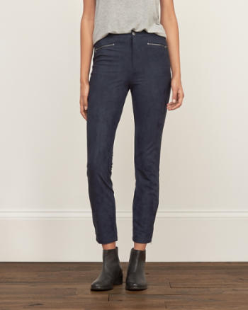Womens Faux Suede Zip Pants