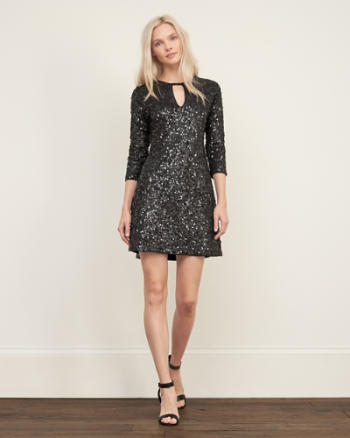 Womens Sequin A-line Dress