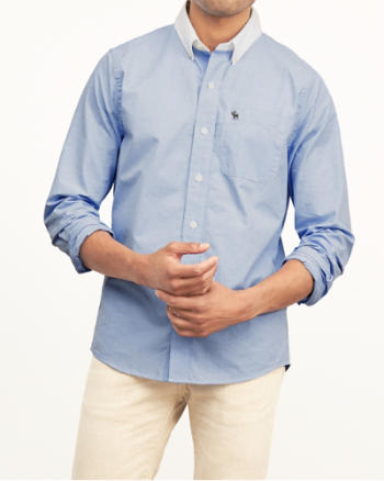 Mens Muscle Fit Contrast Collar Poplin Shirt