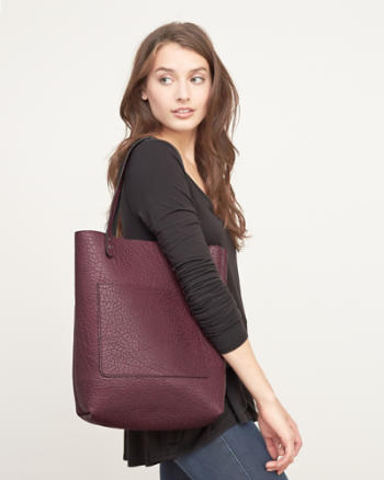 Womens Reversible Faux Leather Tote