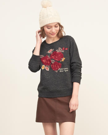Womens Embroidered Graphic Sweatshirt