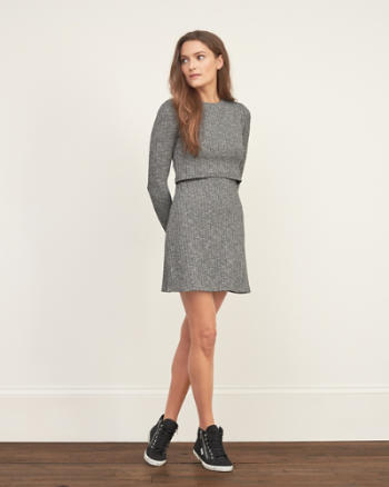 Womens Ribbed Overlay Sweater Dress