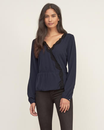 Womens Wrap Lace-trim top