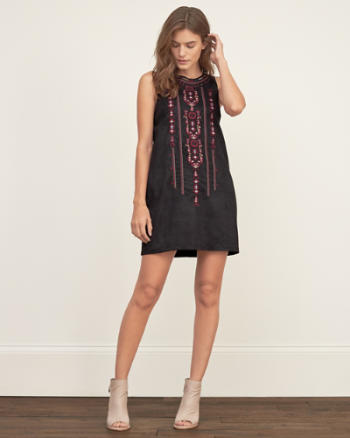 Womens Embroidered Faux Suede Shift Dress