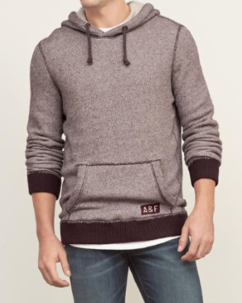 Mens Textured Fleece Hoodie