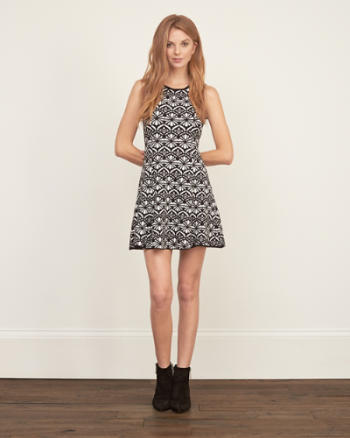 Womens Patterned Flare Dress