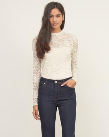 Womens Lace Mockneck Top