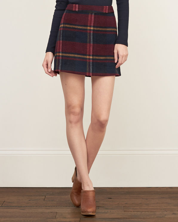 womens brushed plaid a line skirt