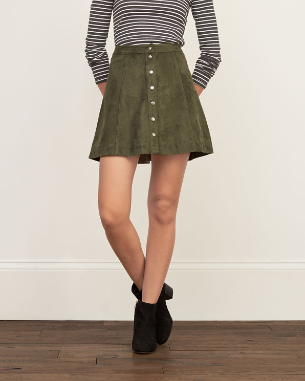 womens faux suede a line skirt womens skirts