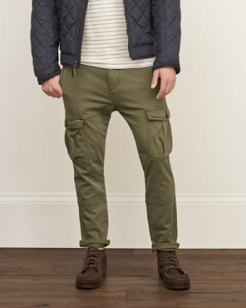 Mens A&F Skinny Stretch Cargo Pants