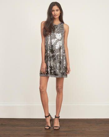 Womens Sequin Chiffon Dress