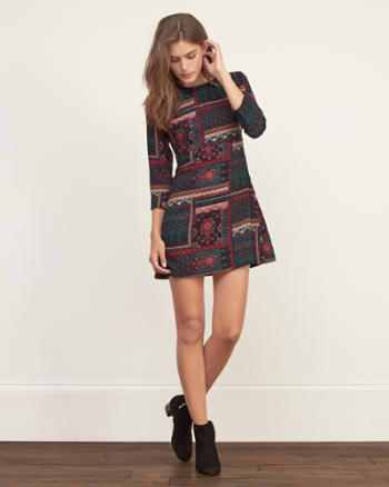 Womens Printed A-Line Dress