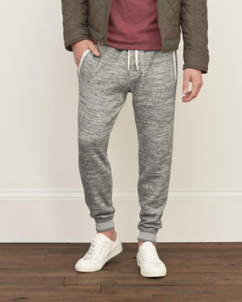 Mens A&F Textured Fleece Joggers