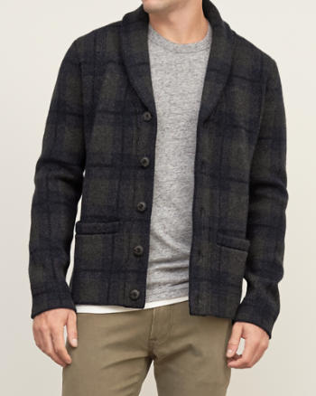 Mens Plaid Sweater-Jacket