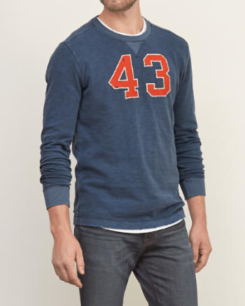 Mens Distressed Long-sleeve Graphic Tee