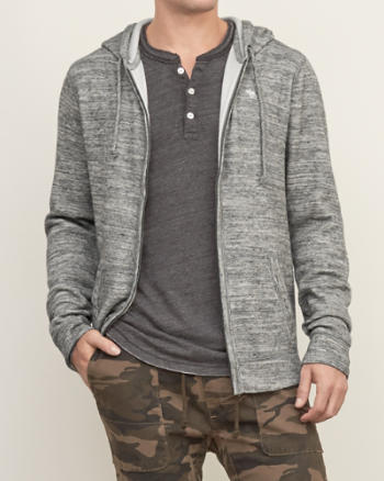 Mens Textured Full-zip Hoodie