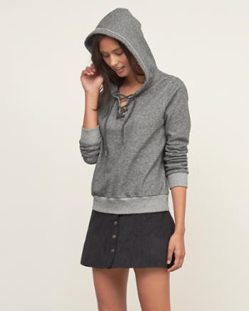 Womens Lace-up Hoodie